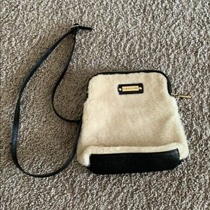 Vintage Italian Sheerling & Leather Crossbody Bag